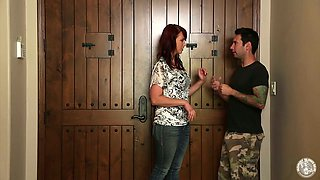 Hot redhead lady Nicki Hunter pleases a dude in the hall