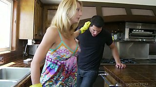 Ardent bootyful blonde housewife Brenda James is happy to ride dick