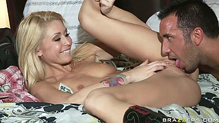 Dirty blonde wench Monique Alexander gets nailed hard in a missionary position