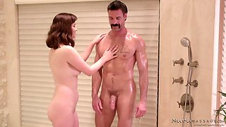 beautiful brunette jay taylor is taking care of charles dera