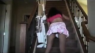 My new maid Vacuums The Stairs No Panties