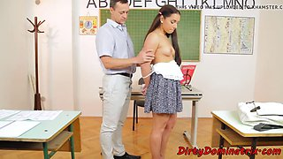 Gorgeous schoolgirl dominated by maledom