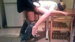 Sexy whore wife used  in my kitchen  in front of her husband