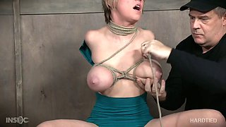 Bosomy MILFie blonde hottie is ready for some hard bondage session