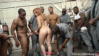 Nasty blonde Edyn Blair is serving several sex-hungry black dudes