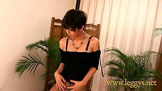 Leggys Dream 1 Japanese girl Miho in Black Pantyhose