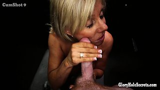 Hot older Milf sucking off younger guys in random gloryhole