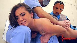 Patient in a straitjacket abused by two hospital workers