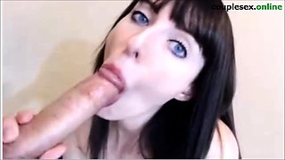 young european  brunette gives amazig blowjob POV