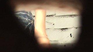 Redhead white sweetie in pink panties filmed on hidden cam