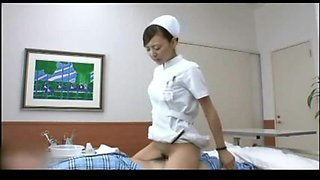 Lascivious Japanese nurse riding a patient