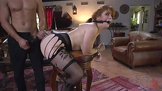 horny sex slave enjoys rough pounding from behind