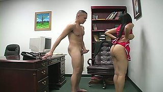 White raven haired filth with tight breasts is gonna swallow tiny Asian cock