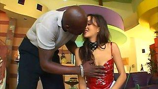 BBC fucks hard naughty exotic chick wearing latex lingerie