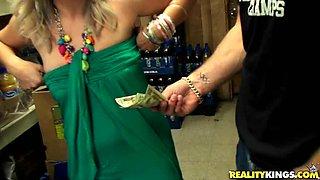 Horny Latina's nailed in a storage room