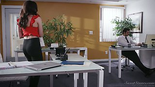 Seductive secretary Whitney Wright gets intimate with her co-worker right in the office