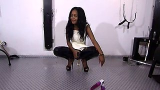 Sexy mistress having fun with her sex slave in bondage