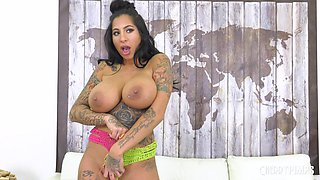 Busty brunette Stacy Jay fucked by a horny tattooed lover