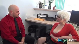 Office blonde milf gives harsh handjob