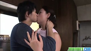 Busty housewife Neko Ayami does cock sucking