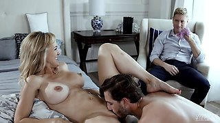 Blonde cougar cuckolds hubby and gets creampied in her tight pussy