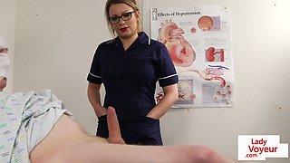 Spex nurse helps sub patient to jerk off