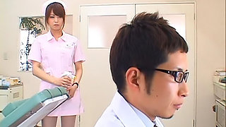 Naughty Asian nurse is helping the doctor set up the exam room