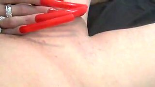 Long Red Nails Insertion