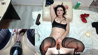 Pretty Good Shaved Milf Fucked Hard By A Machine