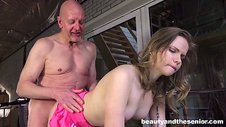 Sweet sport chick Candice moans under bald headed old dude