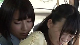 asian schoolgirl lesbian and teacher on public bus