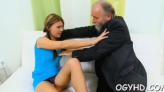 Avid old lad fucks mouth and juicy pussy of a young girl