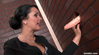 Rich lady Cartoon Candy goes wild in the glory hole room