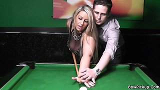 Busty bbw gf gives head and fucked on pool table