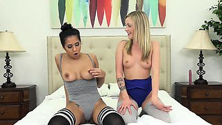 Abby Lee Brazil and Karla Kush Fuck in Thigh High Socks