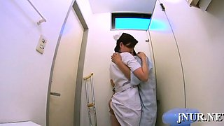 Nude oriental nurse deals the penis with passion and craving