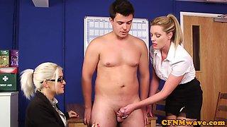 Cfnm babes enjoy humiliating sub guy