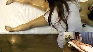 Petite Japanese babe gets her honey hole gently massaged