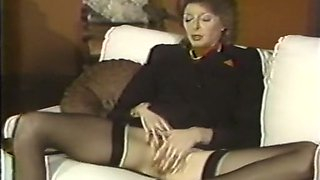 Brunette and blonde ladies on the couch were masturbating
