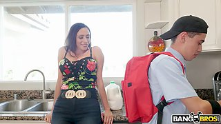 ariella ferrera seduces her neighbor's son juan in the kitchen