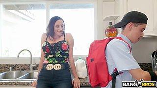 ariella ferrera seduces her neighbor's son juan in the kitchen