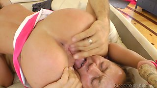 Big dick of Rocco drills tight pussy hole of lusty girl in kinky FFM threesome