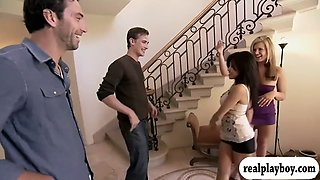 two curvy ladies with a nice fight with breast oil with men
