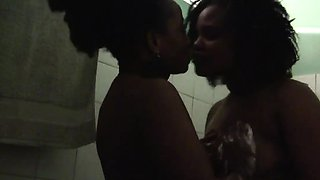 African lesbians Nellyand Natasha go take a shower together