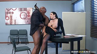 Giant-breasted slut Angela White gets naked and goes down on her knees