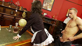 Handsome guy talked maid Lucy Love into sucking his dick