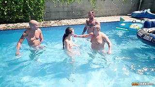 Pool group sex with salacious Cassie Fire, Emilio Ardana and others