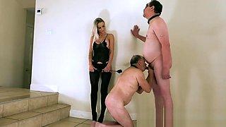 Goddess Platinum humiliates slave to suck cock
