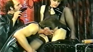 Naughty and chunky white German milf woman with two men