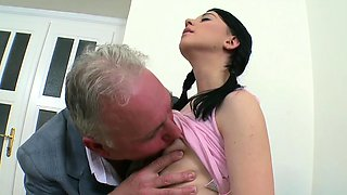 Darling is delighting old teacher with oral pleasure sucking